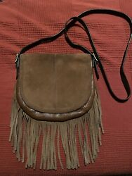 Pre Owned Fossil Fringe Leather Suede Crossbody Purse Bag In Brown - Rare