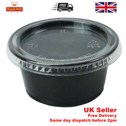 2oz Black Sauce Deli Pots With Lids Plastic Containers Dip Tubs Chutney Takeaway