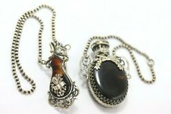 Antique Victorian Chatelaine Faux Tortoise Shell Perfume Decanter W/ Fob Clip