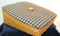 Longaberger Tapered Paper Tray Basket,fabric Covered Wood Craft Lid And Protector