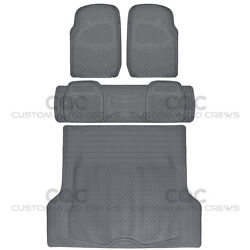 Gray Max Duty Rubber Floor Mats For Car Suv Truck W/ Cargo Liner 5 Piece Set