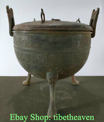 11.4 Old Chinese Bronze Ware Dynasty Palace 3 Feet Beast Ear Incense Burner