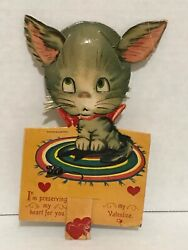 Vintage Mechanical Cat Kitten Playing With Mouse Valentines Day Card Q7