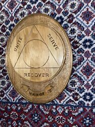 Vtg Aa Sobriety Circle Hand-carved Wood Alcoholics Anonymous 14.5 Wall Token