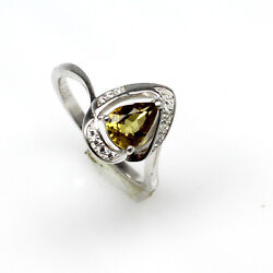Natural Brown Tourmaline Faceted Pear Sterling Sliver Zircon Ring For Valentines