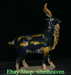 18.6 Old Chinese Tang Sancai Porcelain Dynasty Stand Sheep Goat Luck Sculpture