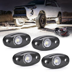 4 Pods White Led Rock Lights Underglow Offroad Car Truck Light W/ Wiring Harness