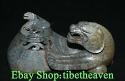 6.8 Rare Old Chinese Hetian Jade Carving Dynasty Palace Pixiu Unicorn Censer