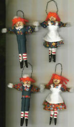 Handmade Raggedy Anne And Andy Clothespin Dolls / Ornaments