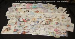 Lot Of 98 Vintage Greeting Cards From 1951 Wedding,bridal Shower,gift,engagement