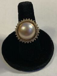 New Custom Made Button Pearl Ring 14k With Diamonds