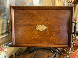Vintage 1900s English Decorative Brass And Wood Oak Serving Tray