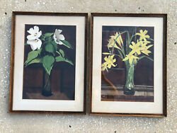 Pair Arts And Crafts Floral Paintings Listed Artist Charles Avery Aiken 1872-1965