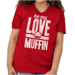 Love Muffin Cute Funny Valentineand039s Day Gift V Neck T Shirts Women V-neck Tees