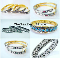 Natural Rosecut Diamond Polki Turquoise 925 Sterling Silver 13 Bangle Jewelry