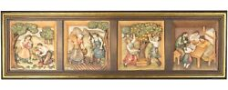 Wood Carving Seasons Wall Image Art Woodcarving Painting Country Wood