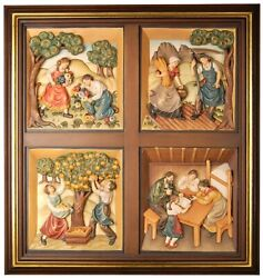 Window Picture Seasons Wooden Carving, Relief, Wood, Painting Farmer Cottage