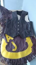Leather Bronc Chaps And Vintage Leather Vest Western Decor Riding Rodeo Prop