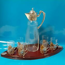 Edwardian 800 German Silver Rose Cut Glass Pitcher W/ Glasses And Cherry Wood Tray