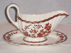 Vintage Discontinued Spode Scallop Indian Tree Gravy Boat With Underplate Mint