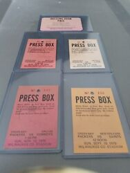 Vintage Green Bay Packers Dressing Room Press Box 5 Pass Set / Ticket 1978 1979