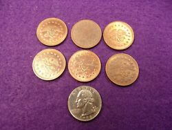 Nice Lot Of Six Vtg Solid Copper Video Game Type Tokens - No Cash Value Eagles