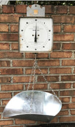 Vintage Hanson Scale 20lbs Hanging Scale W/ Scoop Pan