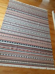 Vintage Huge Hand Woven Heavy Weight Mexican Area Rug Muted Colors Sw Western