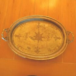 Atq.1346 Persian Tray With Handles / Silver Plated Brass / Handmade Large Size