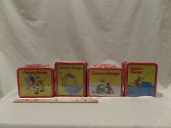 Curious George Bundle Of 4 Vintage Mini Tin Lunch Boxes 1998-2000-factory Sealed