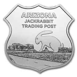 1 Oz Silver - Icons Of Route 66 Shield Jack Rabbit Trading Post