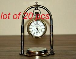 Antique Nautical Brass Clock With Compass Table Top Decorative Christmas Gift