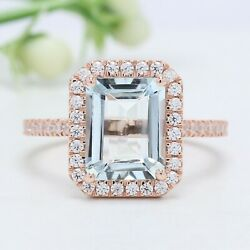 Sky Blue Aquamarine Emerald Stone Ring 10k 14k Solid Gold Engagement Ring Gn47