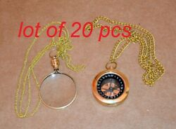 Antique Vintage Brass Locket Magnifying Glass Magnifier And Locket Compass Gift