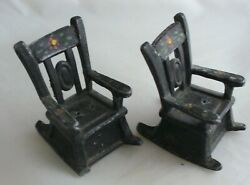 Vintage Cast Metal Salt And Pepper Shakers Rocking Chairs Black Hand Painted