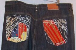 Stone Touch Mens Big And Tall Embroidered Asian Design Jeans 44 -33 New