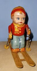 Working Vintage J Chein Tin Lithograph Wind Up Skier Toy Cross Country Skiis