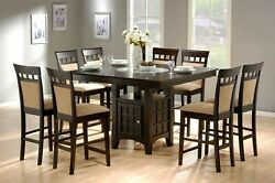 Modern 9-piece Square Counter Height Dining Set Storage Cabinet And Lazy Susan