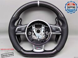 Audi Rs6 R8 Rs3 S3 Ttrs 8 Silver Ring Perforated Carbon Small Steering Wheel V2