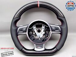 Audi Rs6 R8 Ttrs Rs3 S3 Tts White Red Ring Napa Carbon Small Steering Wheel V2