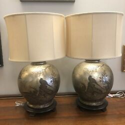 John Richards Silver Leaf Table Lamps With Painted Asian Motif