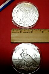 Buy Here 5oz 2 1/2 .999 Fn Silver Bullion Rd-incuse Indian/eagle W/at Hldr