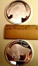 Buy Here 5oz 2 1/2 .999 Fine Silver Bullion Rd-indian Hd/bison W/at Hldr