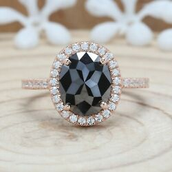 2.71 Ct Black Oval Diamond 14k Solid Gold Ring Engagement Wedding Ring Kdk1948