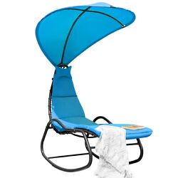 Patio Hanging Chaise Lounge Chair Swing Hammock Canopy Thick Cushion Turquoise