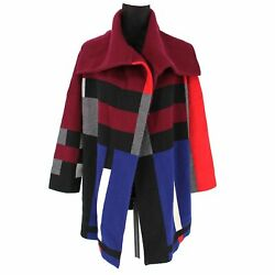 Check Wool/cashmere Cardigan Coat Red/blue Size Small