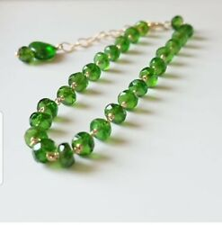 Chrome Diopside Beads Bracelet / Necklace Sterling Silver Wire Wrap Jewelry Gift