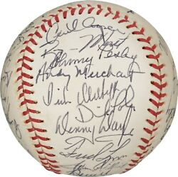 Beautiful Vintage 1975 Boston Red Sox Champs Team Signed Baseball Psa Dna And Jsa