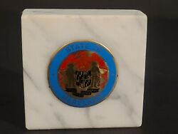 Vintage State Of Mayland Metal Crest Seal Embedded In Marble Paper Weight