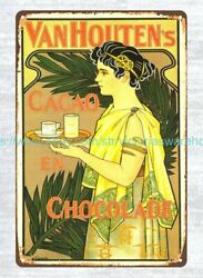 Van-houten's Cacao Vintage Reproduction 1899 Metal Tin Sign Tin Signs
